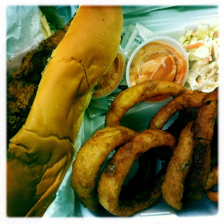 Whiting sandwich with onion rings and slaw from Rocket Billy's in White Stone. At least half the incentive to eat at Rocket