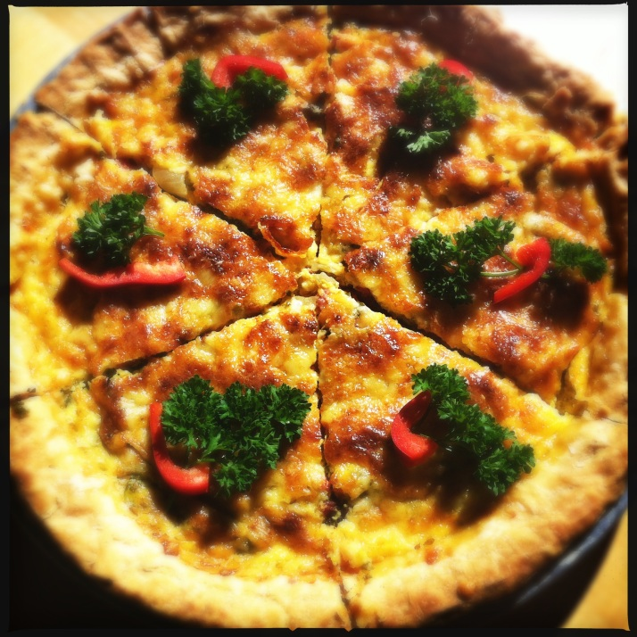 Garden quiche for Sunday brunch with a homemade crust, eggs from Pamela, and veggies all from the Mirador garden.