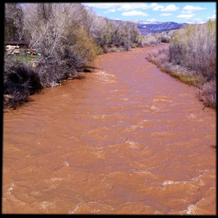 The river runs full and red yesterday through Paonia.