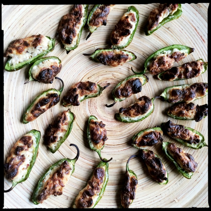 Cream cheese and bacon stuffed jalapeños for last night's summer feast with neighbors.