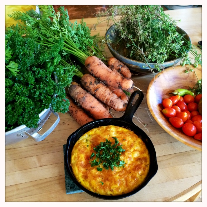 September 22's harvest of carrots, parsley, coriander, and tomatoes, all went into a frittata with Pamela's eggs.