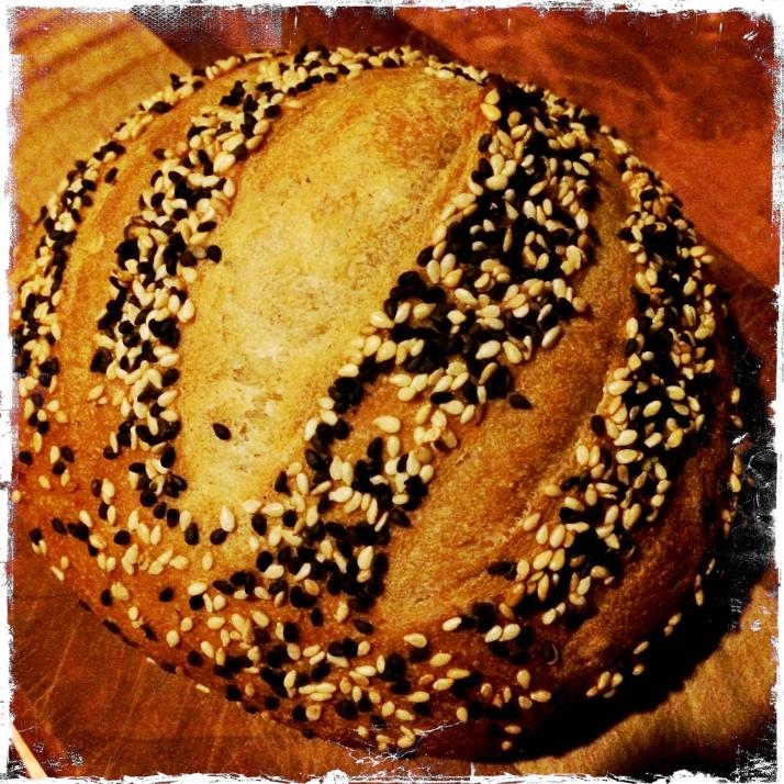 Cynthia's sensational sesame-semolina bread.