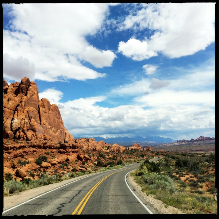 Driving through Arches National Park.