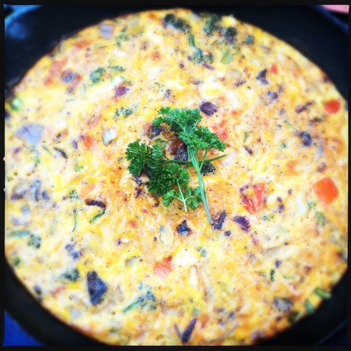 Also frittatas, with Pamela eggs, Stout bacon, and everything else from the garden.