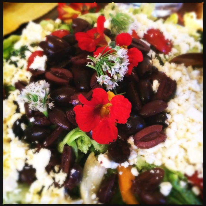 Bad Dogs' salad with greens and flowers from their garden...