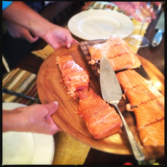 Garden delights served with planked salmon...