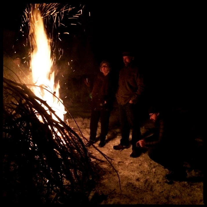 Solstice bonfire Sunday night at the Bad Dog Ranch. A beautifully constructed pyre that didn't catch right away. Some called for gasoline; I'd have had to get in their way if they tried. All it needed was patience, a little TLC, and it took off magnificently.